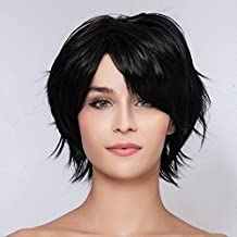 Color Beige requiere el hardware de las mujeres a corto y oscuro de color negro recto pelo Completo a prueba de calor de ratón de las pelucas