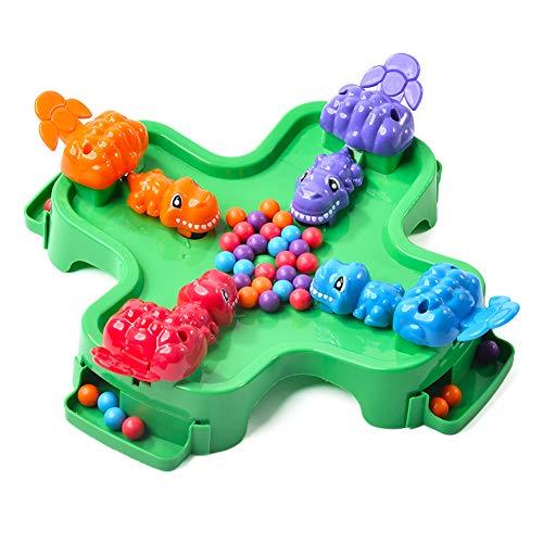 TrifyCore Brettspiel-Spielzeug-Dinosaurier-Essen Bean Rennen Schnappen Nahrungsmittelwettbewerb Spiel Desktop-Interaktives Spiel Brain Training Spiele Learning Lernspielzeug für 4 Spieler 1Set