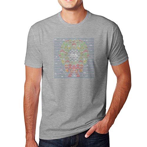 Planet Nerd - Game Over Stitches - Herren T-Shirt Grau Meliert