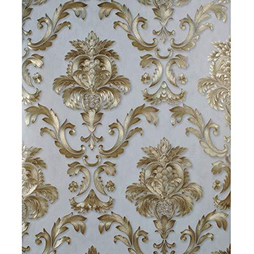 FGHJKL Tapeten Grey Gold Textured Luxury Classic 3D Damask Wallpaper For Bedroom Living Room Home Decor Waterproof Vinyl PVC Wall Paper Roll