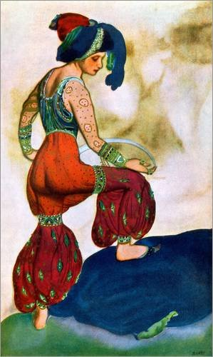 Alu Dibond 80 x 130 cm: Kostüme für 'das Rote Sultan', von Sheherazad von Leon Nikolajewitsch Bakst / Bridgeman Images