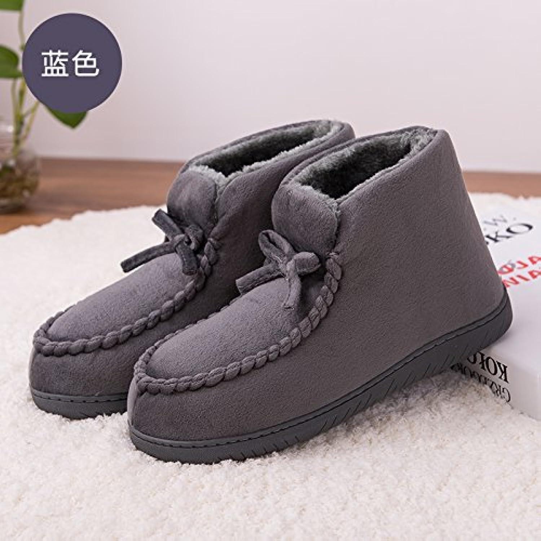 LaxBa  Invierno patinar en zapatillas piel falsa nieve forrada caliente Zapatos para hombres azul encaja37-38...