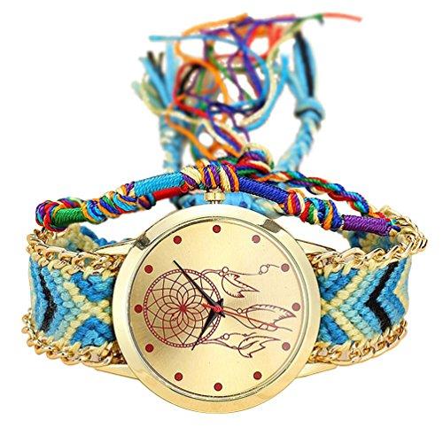 TOOGOO Reloj de Pulsera de Correa Trenzada Hecha de mano Atrapasuenos Amistad Reloj de Cuarzo para Mujer - Color 6