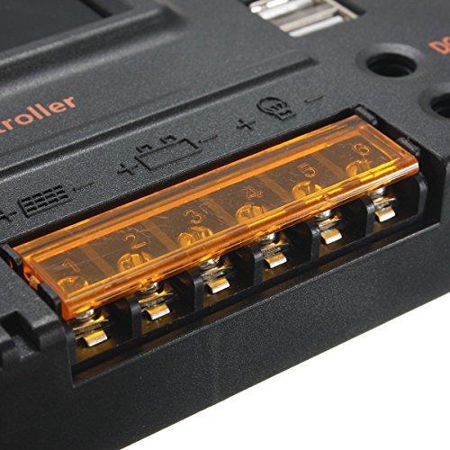 MOHOO 20A 12V-24V Solar Panel Regler Laderegler Intelligente Heim Verwenden PWM & WPC-Modus LCD Display Solarladeregler Mit USB Geeignet für Haus, Industrie, Gewerbe, Boot, Auto usw.# - 3