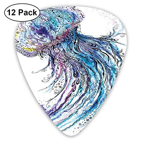 Guitar Picks12pcs Plectrum (0.46mm-0.96mm), Aqua Colors Art Ocean Animal Print Sketch Style Creative Sea Marine Theme,For Your Guitar or Ukulele -