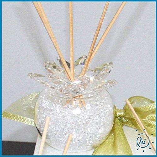 Profumatore fiore in cristallo con fragranza inclusa misura 8x7 cm - misura sfera 8 cm