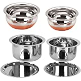 Sonigram Stainless Steel Serving Cookware(Pack Of 2 Induction Tope/Serving Handi) With Copper Flat Bottom And Lid, 500/750/1500/2500ml(Silver)