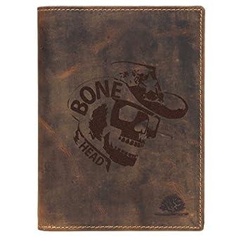 Greenburry Vintage Bone Head BH01 Ausweismappe mit Skull Motiv braun
