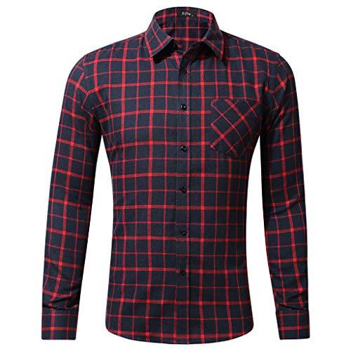 Xmiral Herren Bluse Art und Weise beiläufige Langarmhemd Taschen Lattice Bedruckte T-Shirt (XS,C-Rot)