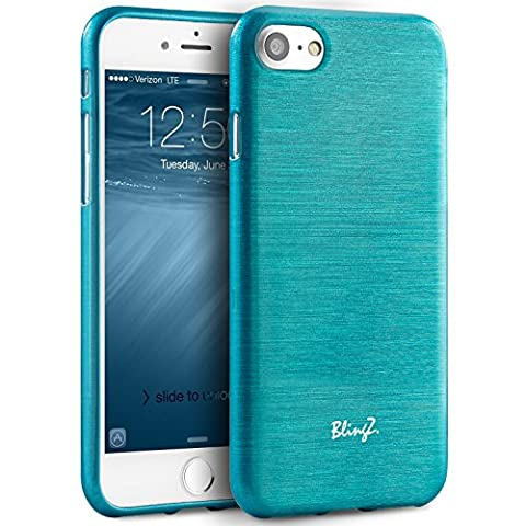 iPhone 7 Case, TheBlingZ.® Lining TPU Rubber Silicone Jelly Gel Case Cover For iPhone 7 - Blue