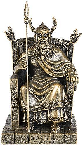 Osiris Trading UK - Figura Decorativa de mitología nórdica de Odín sobre Trono con Efecto Antiguo