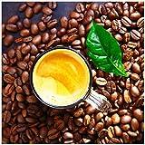 Wallario Möbeldesign - Glasbild, Motiv-Glasplatte, Schutzplatte, Abdeckplatte mit Motiv - geeignet für Ikea Lack Tisch, Größe: 55 x 55 cm, Motiv: Kaffee und Bohnen
