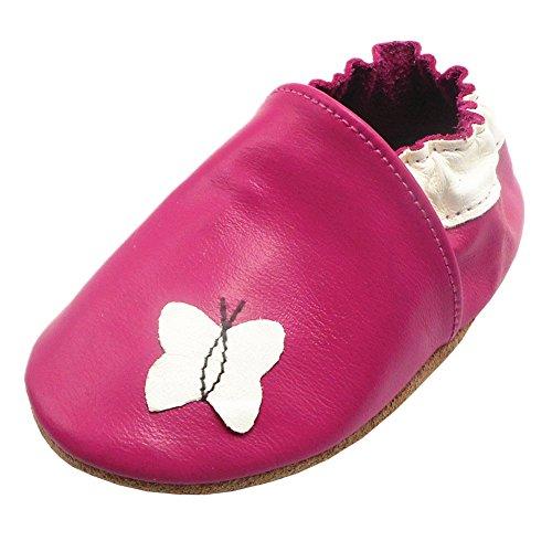 Happy Kids Baby Krabbelschuhe Schmetterling Babyschuhe Mädchen Lederschuhe Weiche Sohle Baby Mokassins(12-18 Monat, Rosen Rot)