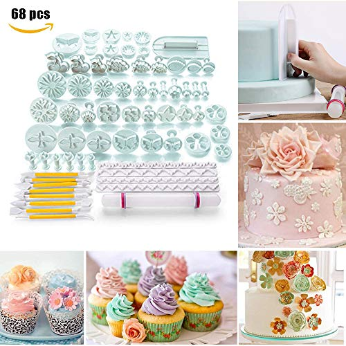 Triple Tree 68 Pieces Cake Piping Icing Nozzles Tips Kit Set Fondant Cutters Sugarcraft and Alphabet Cutters for Cake Decorating