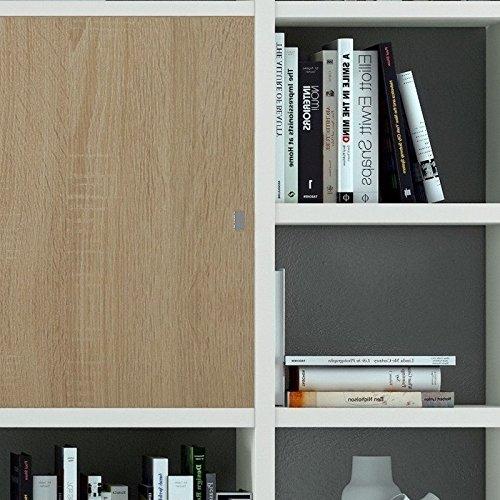 Wohnzimmer weiß lackiert – Eiche Sonoma Bücherregal WohnwandFernsehschrank - 2