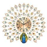 ZJWZ Wauer Uhr Pfau kreative Metall stumm Quarzzeit Präzisionsuhr Kunst einfache Wohndekoration,70 * 70