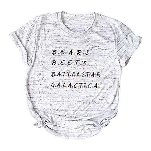 Damen T-Shirt Lässige Bluse Tops Oberteile,2019 Brief gedruckt Kurzarm Damen T-Shirt O-Neck Kurzarm Taschensack Plus Size Casual Top Schlichtes Oberteil mit Buchstabendruck S-5XL -