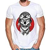 MRULIC Herren Männer Druck Tees Shirt Kurzarm T Shirt Tops(H-Weiß,EU-48/CN-XL)