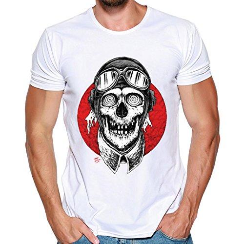 (MRULIC Herren Männer Druck Tees Shirt Kurzarm T Shirt Tops(H-Weiß,EU-44/CN-M))