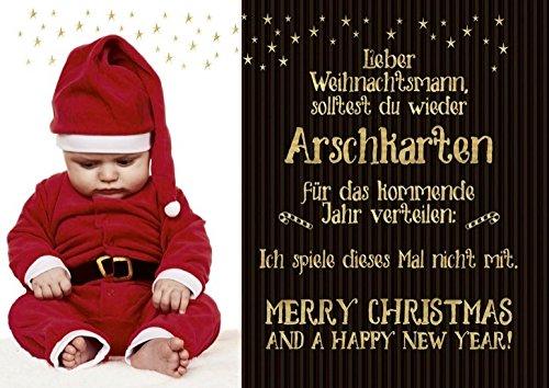 DeCoArt... Postkarte Weihnachten Lieber Weihnachtsmann, solltest du wieder ... schwarz gold 15 x 10,5 cm (Weihnachtsmann Postkarten)