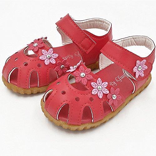 Longra Neonate morbide sandali fondo fiori Rosso