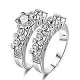 Bishilin Damen Ring Versilbert Stapelring Weiß Zirkonia Rund Verlobungsringe Hochzeitsring Silber Gr.54 (17.2)