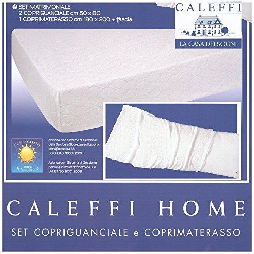 Coprimaterasso Caleffi Matrimoniale In Spugna Jaquard Con 2 Federe Cm 50 x 80