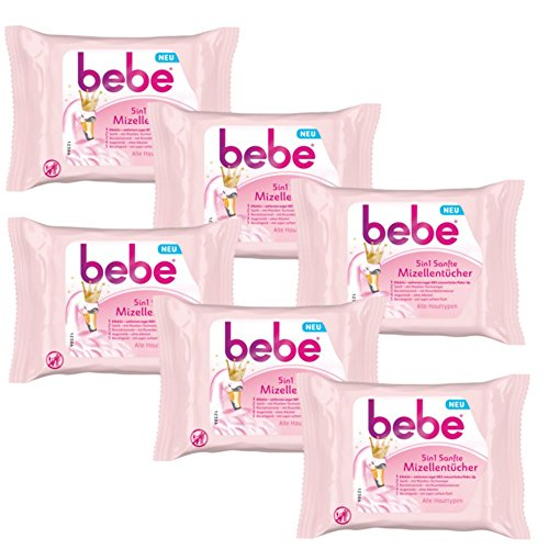 bebe 5in1 Sanfte Mizellentücher - Abschminktücher für alle Hauttypen - 6 x 25 Stück