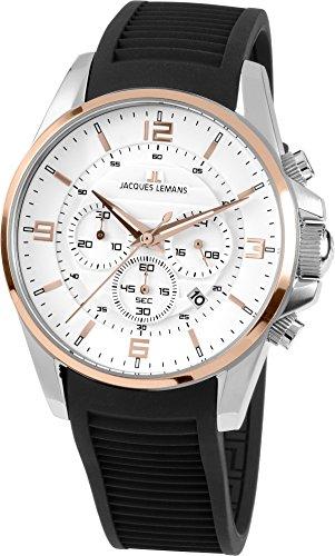 Jacques Lemans Reloj analógico para Hombre de Cuarzo con Correa en Silicona 1-1799D
