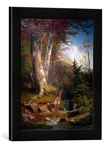 Gerahmtes Bild von William Holbrook Beard Mountain Stream and Deer, Kunstdruck im hochwertigen handgefertigten Bilder-Rahmen, 30x40 cm, Schwarz matt