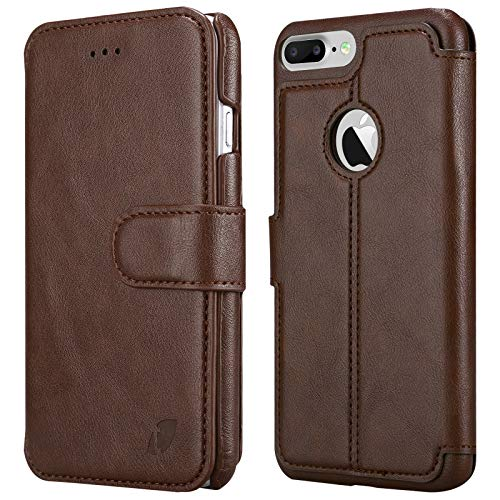 Techstudio PU Leather Wallet Flip Cover with Card Slot for Apple iPhone 7 Plus  Brown