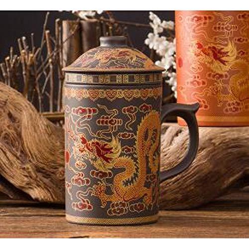DWLXS Kaffeetasse 300Ml Chinesische Teetasse Purple Clay Dragon Phoenix Teekanne Kaffee & Tee-Sets, Gelb