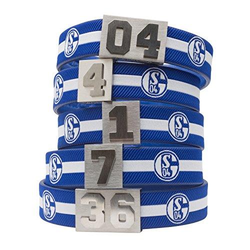 BRAYCE® FC Schalke 04-Armband mit Deiner Nummer 1-99 (Trikotnummer, Spielernummer, Glückszahl): Der Schmuck im Knappen Style für Damen und Herren (Fanartikel)