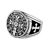 BOBIJOO Jewelry - Anillo Anillo Anillo De Hombre De La Cruz De San Benito De Protección Demonio De Plata De Acero Negro - 19 (9 US), Acero Inoxidable 316