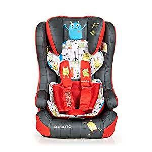 Cosatto Hubbub Isofix Group 123 Car Seat, 9-36 kg, Monster Mob My Babiie Suitable from birth to maximum 15kg Extendable 3 position canopy Lockable swivel front wheels 11