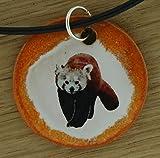Echtes Kunsthandwerk: Schöner Keramik Anhänger mit einem kleinen Panda; Ailurus fulgens, Katzenbär, Roter Panda, Bärenkatze, Goldhund, Feuerfuchs, Bambus, China