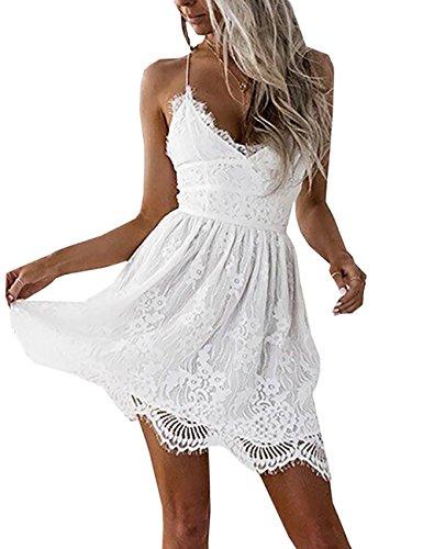Boutiquefeel Damen Crochet Lace Up Tief V Ausschnitt Slip Rückfrei Mini Kleid Weiß M (Halter Crochet)