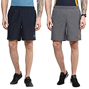 Aurro Sports Men's Polyknit Shorts COMBO-1-GREY-NAVY_Navy Blue_XL