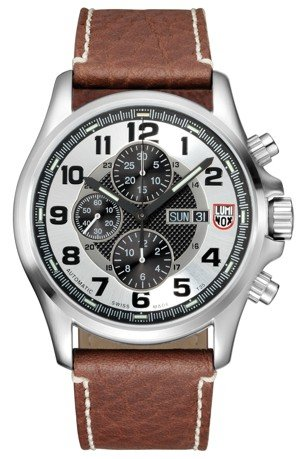 Luminox Land Field Valijoux Automatic Chronograph Brown Leather Mens Watch 1869