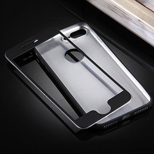 Mobiltelefonhülle - Für iPhone 7 Plus 360 Grad Vollschutz Soft TPU Rückseitige Abdeckung + PC Front Combination Case ( Farbe : Dunkelblau ) Schwarz