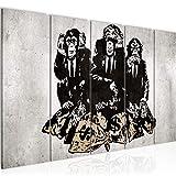 Bilder Banksy Street Art Affen Wandbild 200 x 80 cm - 5 Teilig Vlies - Leinwand Bild XXL Format Wandbilder Wohnzimmer Wohnung Deko Kunstdrucke Braun MADE IN GERMANY Fertig zum Aufhängen 303455b