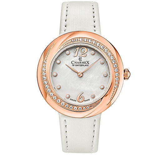 Charmex Women's Deauville 34mm White Leather Band Steel Case Quartz Watch 6360