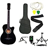 Zabel Elletra Series Acoustic Guitar With Truss Rod, Right Handed, Black With Bag, 1 Pack Strings, Strap, Picks, Capo,Tuner And Foldable Guitar Stand