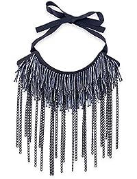 YAZILIND Mujeres Collar de Encaje Gargantilla de Vidrio Tubo de Aluminio Cadenas Banda exagerada joyería…