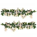 U'Artlines 2er (178cm pro Strang) Künstliche Blume Hängende Rose Blume Girlande Blumen Haus Hochzeit Garten Dekoration(69 Klein Rose Blumen, Rosa)