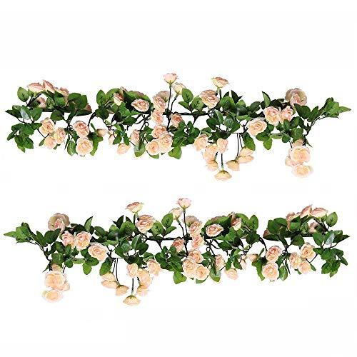 Hängende Bogen (U'Artlines 2er (178cm pro Strang) Künstliche Blume Hängende Rose Blume Girlande Blumen Haus Hochzeit Garten Dekoration(69 Klein Rose Blumen, Rosa))