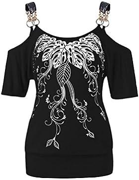 K-Youth Camisetas Tirantes Mujer Basicas Tallas Grandes Verano Originales Vestir Estampado Hoja Manga Corta Camisetas...
