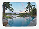 Holiday Bath Mat, Home Exterior Outdoor Pool On Lake Modern Architecture Alpine Trees Greenery, Plush Bathroom Decor Mat with Non Slip Backing, 23.6 W X 15.7 W Inches, Grey Blue Beige