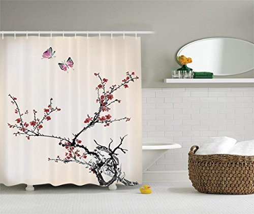 LZHsunni88 Watercolor Flowers Decor Collection, Spring Cherry Branches Flowers and Butterflies Classic Print, Polyester Fabric Bathroom Shower Curtain Set with Hooks, Paprika Pink Ivory - Cherry Classic Collection