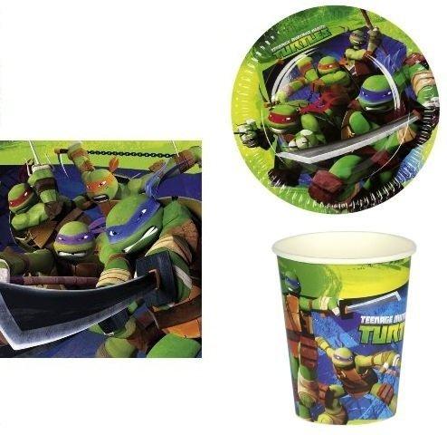 arcobalenoparty-Kit 72Stück Geburtstag Kinder Ninja Turtles Tischdekoration Teller Becher Servietten (16Teller, 16Becher, 40Servietten)